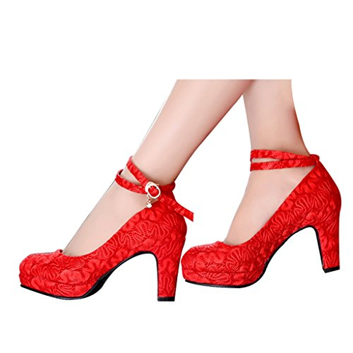 Sposa 8cm colore Shoes Dimensioni Red Pizzo Tacchi Spessore Red con Con 37 Beautiful Nelle Alti Scarpe Alto Da Donna Bridal Rosso xIw66Bfq