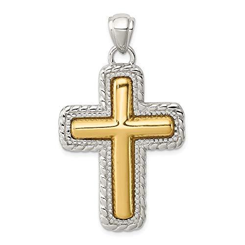 Mia Diamonds 925 Sterling Silver Solid and Vermeil Antiqued Cross Pendant (46mm x 27mm) - Vermeil Pendant Platinum Diamond