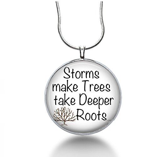 Inspirational necklace -Storms make trees take deeper roots, Dolly parton Quote Necklace