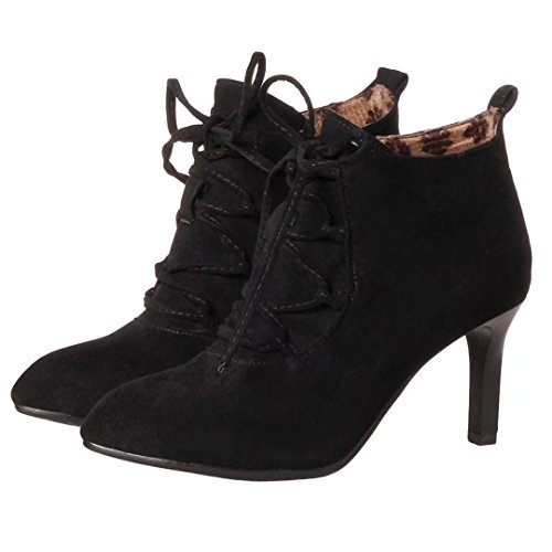 AIYOUMEI Damen Stiletto Stiefeletten mit 7cm Absatz und Schnürung Herbst Winter Reißverschluss Stiefel Ankle Boots Schwarz