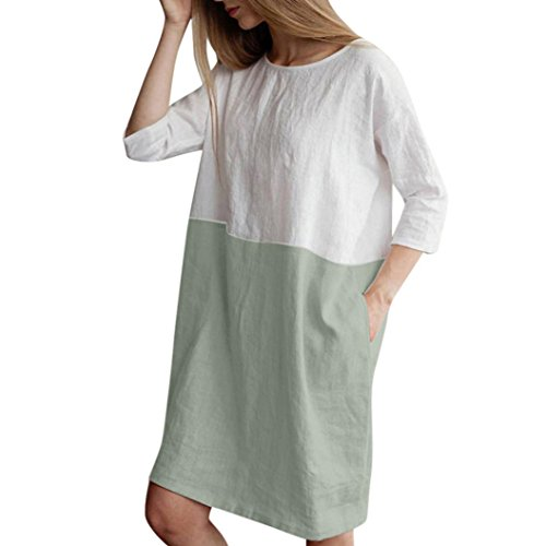 (ZTY66 Dress, Women Casual Patchwork 3/4 Sleeve Cotton Linen Loose Pockets Tunic Dress (Green, S))