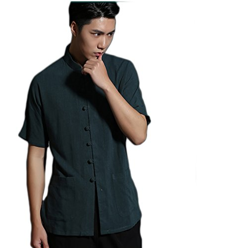 Business Shirts Men's shirt Tang Costume Tang Suit Retra Shirt Chinese National Style Flax Cotton-flax by LUOLAN-Tang Sui (Image #9)