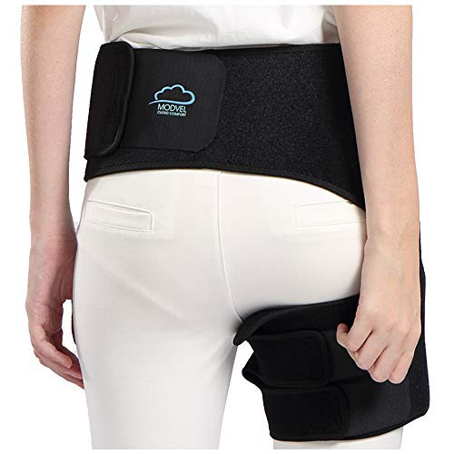 Modvel Comfortable Sciatica Pain Relief Hip Brace for Men & Women   Neoprene & Adjustable Strap   Anti-Slip & Sweat-Resistant   Perfect for Groin, Quad & Hamstring Injury Recovery (MV-132)