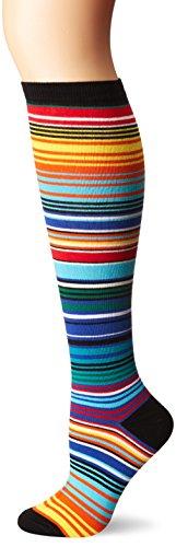 K. Bell Women's Patterned Knee High Socks, Rainbow Serape Stripe, 9-11