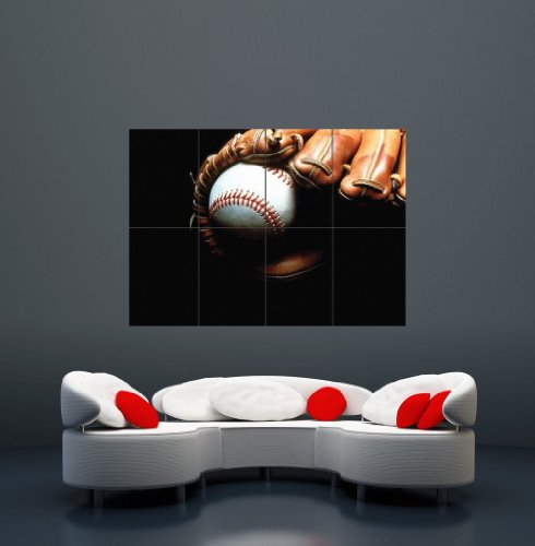 Baseball Glove Wall Art - Doppelganger33LTD BASEBALL BAT GLOVE GIANT WALL ART PRINT POSTER X2282