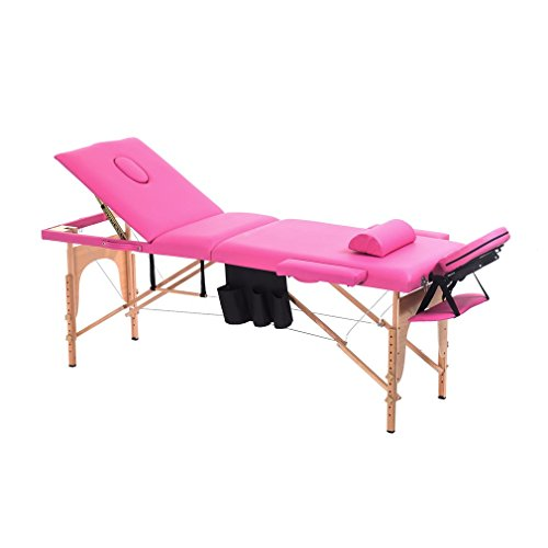 Homgrace Portable Massage Table 3 Fold Hardwood Frame for Facial SPA Bed / SPA Therapy / Beauty Salon (Pink) by Homgrace