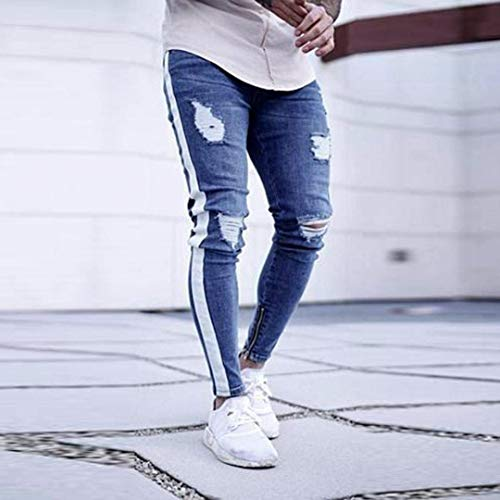 Stretch Classiche Ragazzi Jeans Denim Distrutti Skinny Confortevoli Bianca Da Pantaloni Uomo RxBwgqqYZ