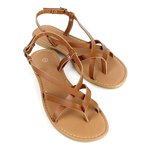 Women's Strappy Faux Leather Gladiator Thong T Strap Flat Sandals (7, Tan)