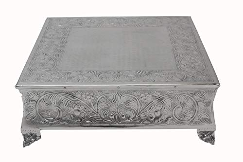 GiftBay Creations 751-18S Wedding Square Cake Stand, 18-Inch, Silver ()