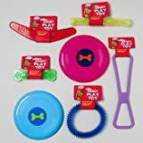 DOG TOY VINYL & PLASTIC 6 SHAPES ASST COLORS IN PDQ -HANG TAG, Case Pack of 72