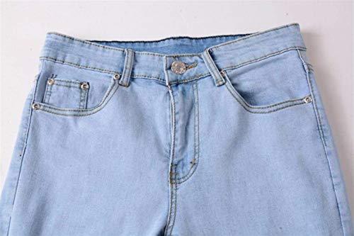 Cierre Los Delgado Estilo Motorista Vaqueros Ocasionales Flacos Blau Pantalones Hombres De La Cómodo Del Largos Apenada Battercake Deshilachados Manera gnA0v6qA