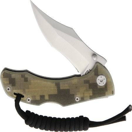 (Colt Clip Point Pocket Folder Lockback Green Camo G10 Handle Lanyard Knife CT729)