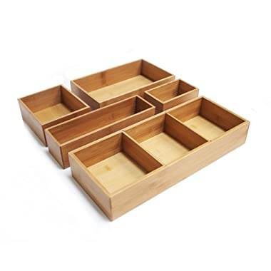Seville Classics 5-Piece Bamboo Storage Box Drawer Organizer Set with 3 Compartment Organizer Box