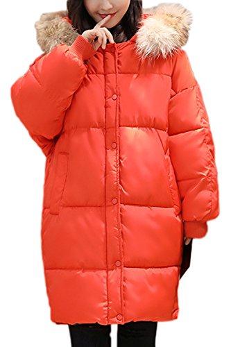 Faux Casual Cálido Invierno Orange De Externa Parkas La Capa Capucha Mujer Espesar Fur Lined Suelto Con tn08UtxwBq