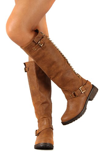 Breckelle Trooper-14 Studded Buckle Riding Knee High Combat Boot Tan