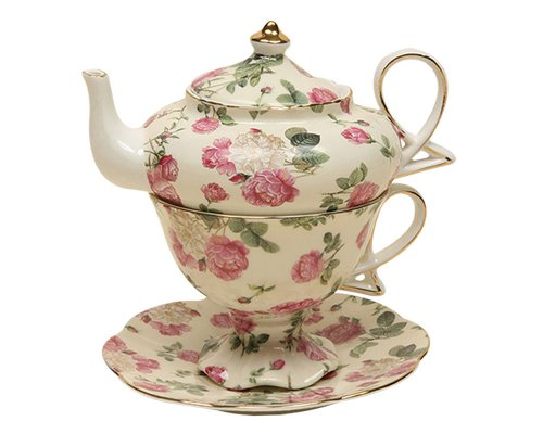 Gracie China by Coastline Imports 4-Piece Porcelain Tea for One, Stacked Teapot Cup Saucer, Pink Rose Bouquet Chintz (Rose Cup Pink)