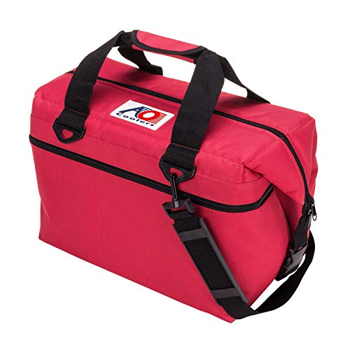 AO Coolers Canvas Soft Cooler with High-Density Insulation, Red, 24-Can