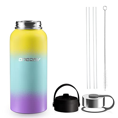 oneday Sports Water Bottle Vacuum Insulated Stainless Steel Straw & Wide Mouth Lids 32oz - Keeps Liquids Hot or Cold with Double Wall Thermo Mug, Metal Canteen