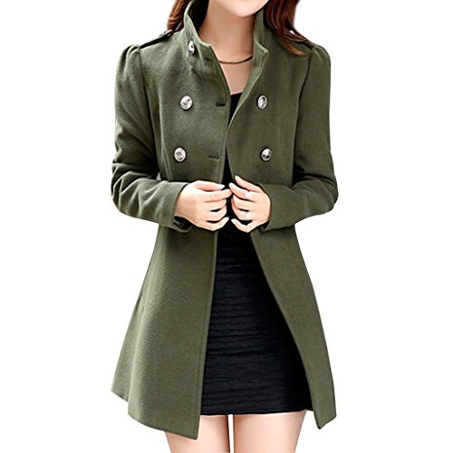 Aisuper Women's Winter Wool Double Breasted Long Sleeve Trench Coat Peacoat Army Green