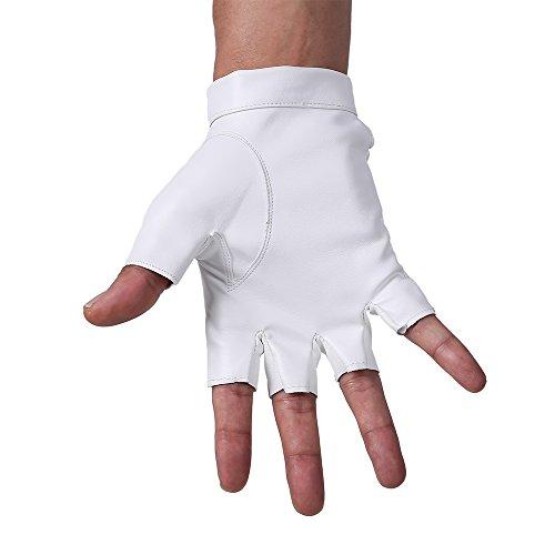 JISEN Men PU Leather Punk Half Finger Snap Performance Gloves Black
