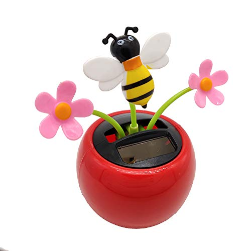 YINGYUE Cute Creative Dancing Flower Bee Model Solar Powered Swing Toy Car Ornament Home Office Decor ()