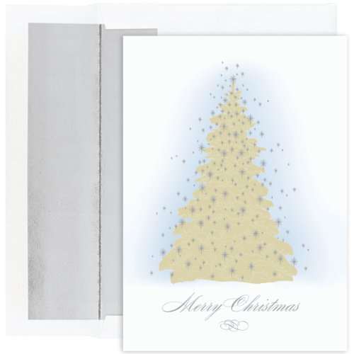 Masterpiece Holiday Collection 16-Count Christmas Cards with Foil Lined Envelopes, Frosted Tree ()