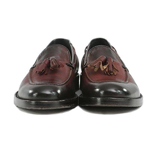 Madò Mocassino Uomo in Pelle Tevere con Nappine Scarpe Artigianali Uomo Colore Bordeaux Calzature Italiane Leather Loafers Made in Italy