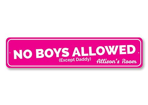 Personalized Daddys Girl - No Boys Allowed Sign, Custom Girl Name Room Sign, Personalized Girls Only Except Daddy Sign, Playroom Decor - Quality Aluminum ENSA1002075-4