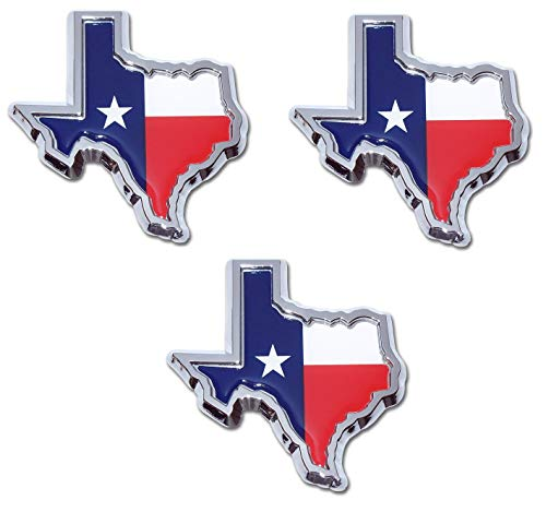 Muzzys (SET OF THREE) TEXAS FLAG IN SHAPE OF TEXAS State Edition Emblem Decal Longhorn Lone Star METAL Badge Universal Stick On for Chevy Silverado Suburban Tahoe Sierra Ford F150 Ranger F-150 Dodge R