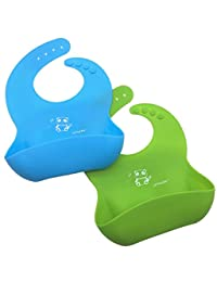 LITTLE Bot Catch-All Soft Silicone Bib - 2 Pack Green/Blue Panda, Comfortable, Easy to clean, Infant/Toddler, Germ-free