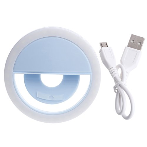 Kocome Portable Selfie LED Ring Fill Light Camera Photography for iPhone Android Phone (Blue) (Cellular Leds)