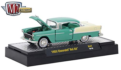 M2 Machines 1955 Chevrolet Bel Air (Neptune Green Metallic Body w/Shoreline Beige Top & Back) Auto-Thentics Series Release 47 - 2018 Castline Premium Edition 1:64 Scale Die-Cast Vehicle (R47 18-13) ()