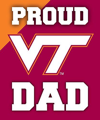 R and R Imports, Inc Virginia Tech Hokies NCAA Collegiate 5x6 Inch Rectangle Stripe Proud Dad Decal Sticker