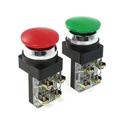 AC 250V 6A 1NO 1NC DPST Momentary Mushroom Head Push Button Switch ( Green1pcs Red1pcs)
