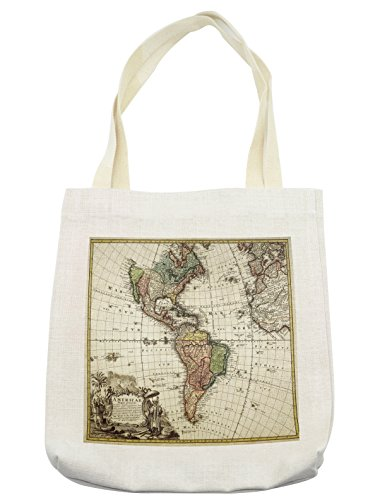 Lunarable Wanderlust Tote Bag, Old Map Europe North South America Canada Medieval Atlantic Heritage Travel, Cloth Linen Reusable Bag for Shopping Groceries Books Beach Travel & More, (South America Costume Ideas)