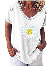 POINWER - Camiseta estampada de manga corta para mujer, blusa suelta con cuello redondo