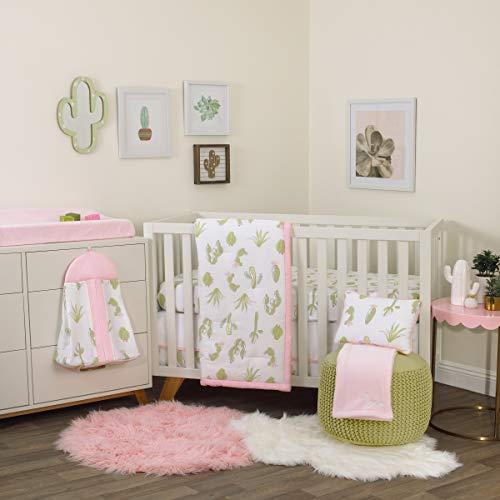 NoJo Dreamer Cactus 8 Piece Nursery Crib Bedding Set, Pink/Green/White,