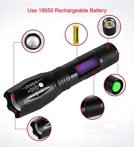 Electric Torch,Adjustable Focus,5 Modes LED Handheld Flashlight 3000 Lumen Ultra Bright with 6PCS 3.7V 1500mAh Rechargeable Battery /& Charger