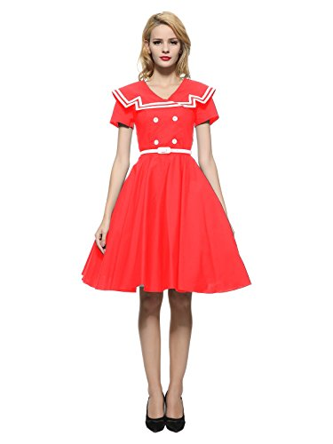 Maggie Tang 50 60s Rockabilly Vintage Gossip Girl Swing Ball Gown Dress Red M ()