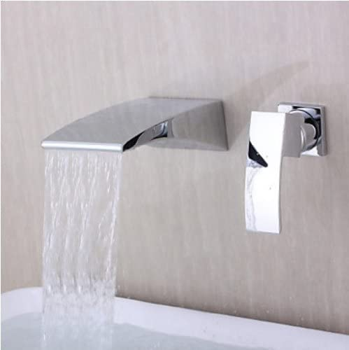 Wall Mount Waterfall Curve Spout Bathroom Faucet Chrome Single Handle Mixer Tap by Rozinsanitary