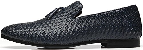 Shoes Blue Men's Tassel Leather Woven Casual Modern Toe Driving Lux on Loafers Slip Moccasin Round TqrOwT6