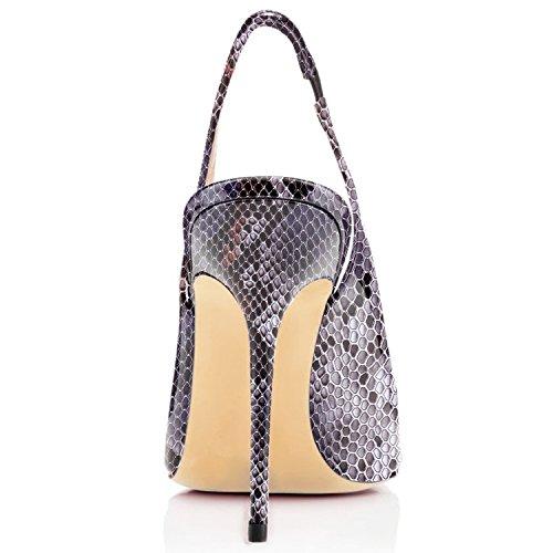 Sammitop Femmes Bout Pointu Slingback Pompes Haut Talon Été Robe Chaussures Python Violet