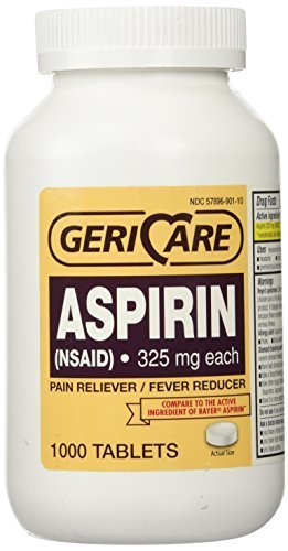 Bottled Aspirin 1000/bottle (NSAID) 325 mg. each by Geri-Care Pharmaceuticals
