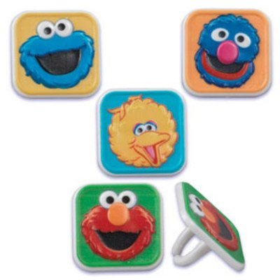 Sesame Street Characters Cupcake Topper Rings - Set of 12