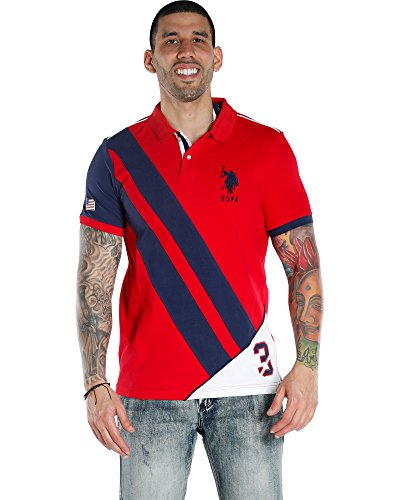 Straight Bottom Polo Top - U.S. Polo Assn. Men's Button-Down Slim Fit Flag Diagonal-88 Winning Red Large