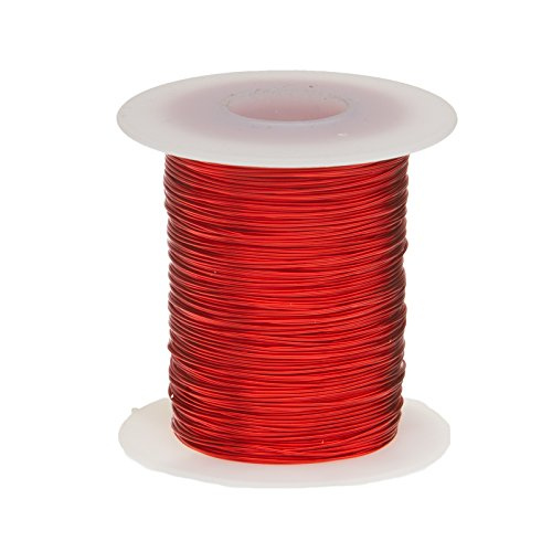 Remington Industries 22SNSP.25 Magnet Wire, Enameled Copper Wire, 22 AWG, 4 oz, 127' Length, 0.0263' Diameter, Red