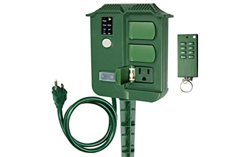 Electric Stake - ECOPlugs Outdoor Yard Stake Timer with Photosensor and Remote Control,6 Grounded Outlets