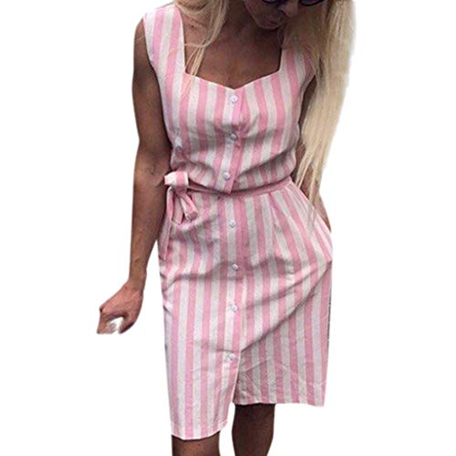 Littay Women Sleeveless Striped Print Slim Casual with Buttons Dress S-XL Polyester Pink