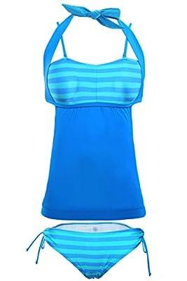 ZKESS Womens Striped Tankini Bikini Set Swimsuit Medium Size Style-5 Lake Green