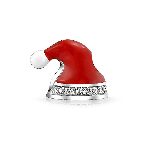 Red Enamel Christmas Stocking Cap Santa Hat Bead Charm .925 Sterling ()